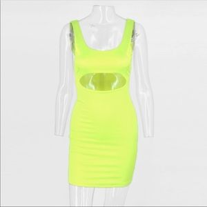 Dresses & Skirts - Neon Luxe Cut Out Mini Dress stretchy satin M L